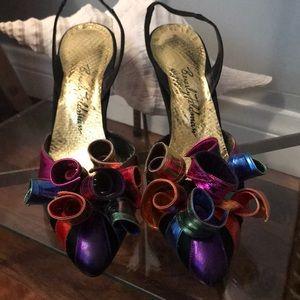 Vintage rainbow Beverly Feldman evening shoes